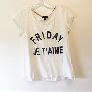 Anthropologie W5 Friday Je T'aime T-shirt Sz Small